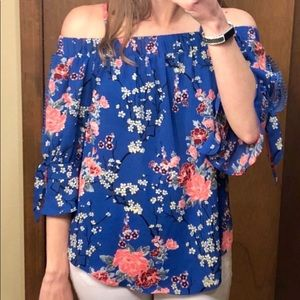 Fortune + Ivy Esana Off The Shoulder Floral Blouse